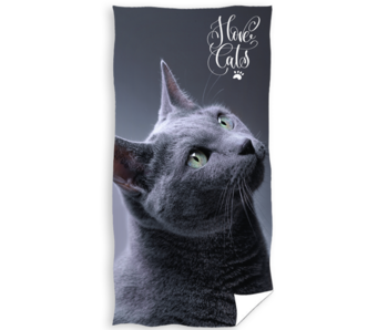 Animal Pictures Beach towel I Love Cats 70 x 140 cm Cotton