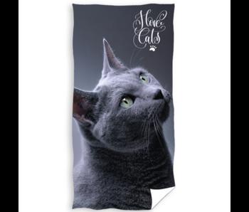 Animal Pictures Serviette de plage I Love Cats 70 x 140 cm Coton