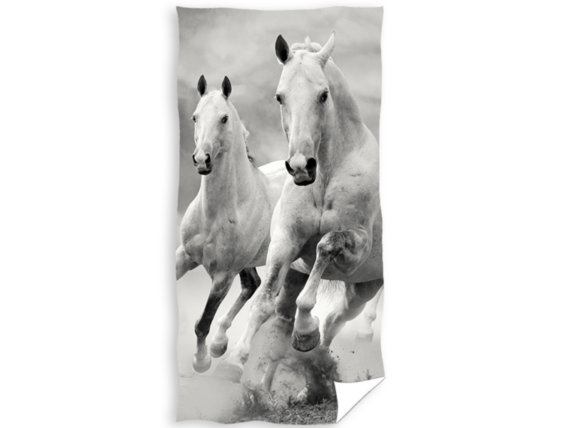 Animal Pictures Strandlaken Wit Paard - 70 x 140 cm - Katoen