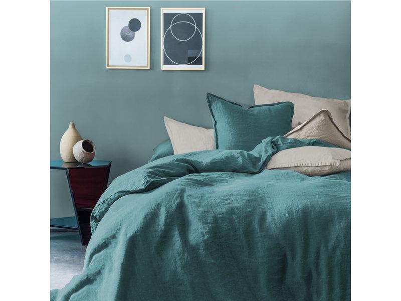 Matt & Rose Dekbedovertrek Groen - Lits Jumeaux - 240 x 220 cm + 2x 65 x 65 - 100% Linnen