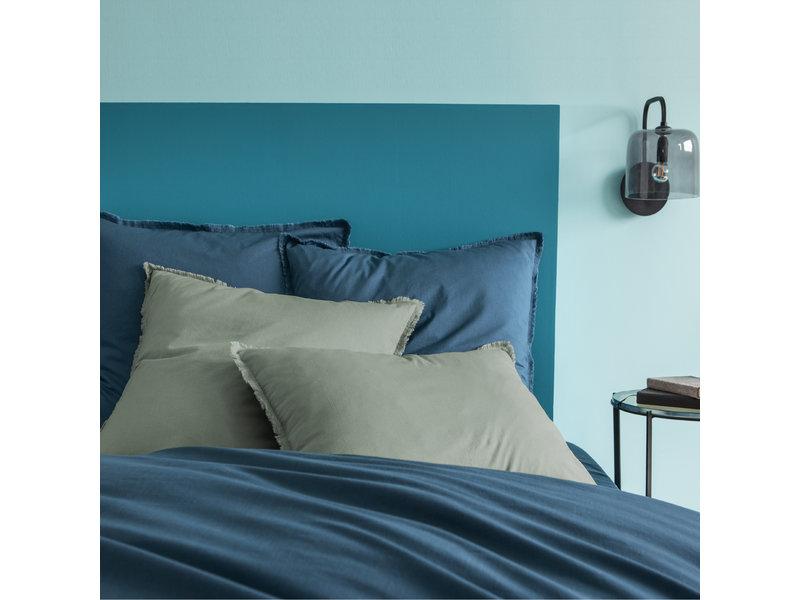 Matt & Rose Housse de couette Bleu - Format hôtel - 260 x 240 + 2x 50 x 70 cm - Coton lavé