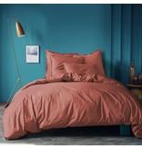 Matt & Rose Housse de couette Terracotta -Double - 200 x 200 + 2x 50 x 70 cm - Coton lavé