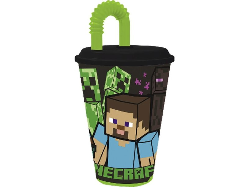 Minecraft Tasse avec paille - 430 ml - Polypropylène
