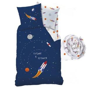 Matt & Rose Parure housse de couette + drap housse Explore Space
