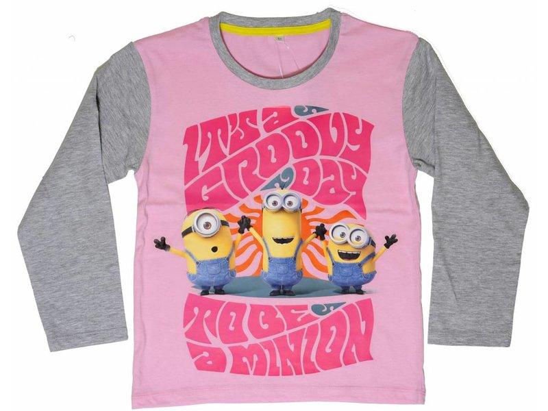 Minions Groovy Day - Shirt girls lange mouw - 8 jaar - Roze