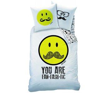 Smiley World Dekbedovertrek Moustache 60% katoen 40% polyester 140x200 + 63x63cm
