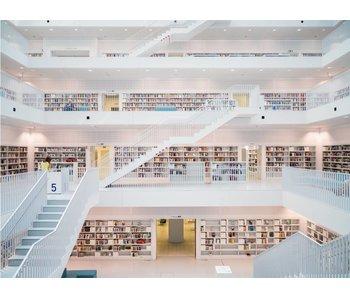 Fotobehang weiße Bibliothek 232 cm x 315 cm