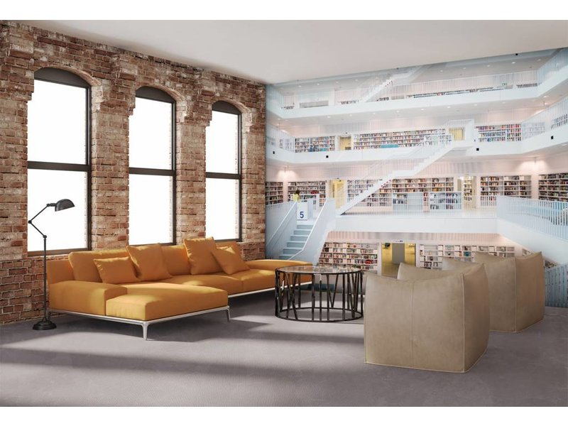 Fotobehang - Witte Bibliotheek - 232 cm x 315 cm - Multi