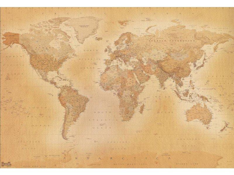 Fotobehang - Wereldkaart oud - 366 x 253 cm - Multi