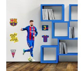 FC Barcelona Autocollant Mural 70x50cm Pique