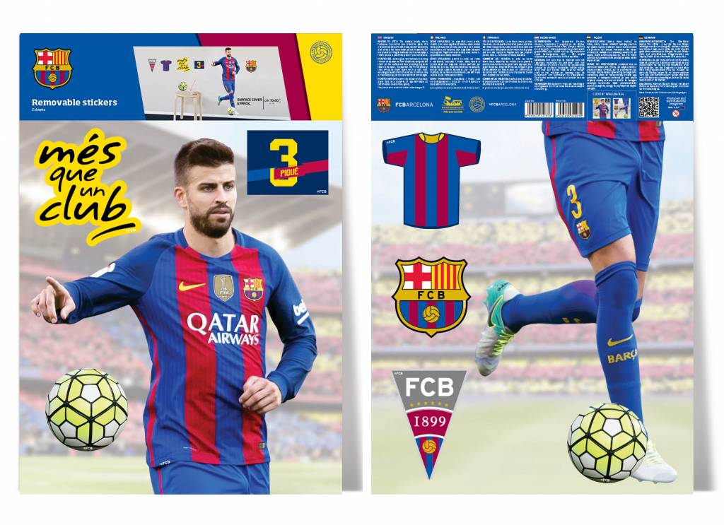 Fc Barcelona Stickers.Pique Wall Decal 70 X 50 Cm