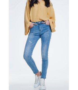 Q2 Light denim skinny jeans slight wear detail - 39467109