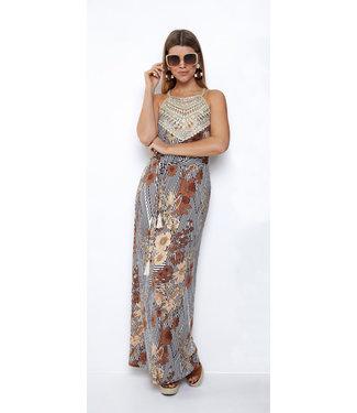 K Design Maxi jurk met gouden fantasie & print - Q843