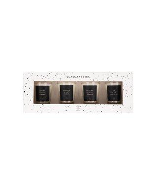 Zusss Set van 4 glaskaarsjes met tekst