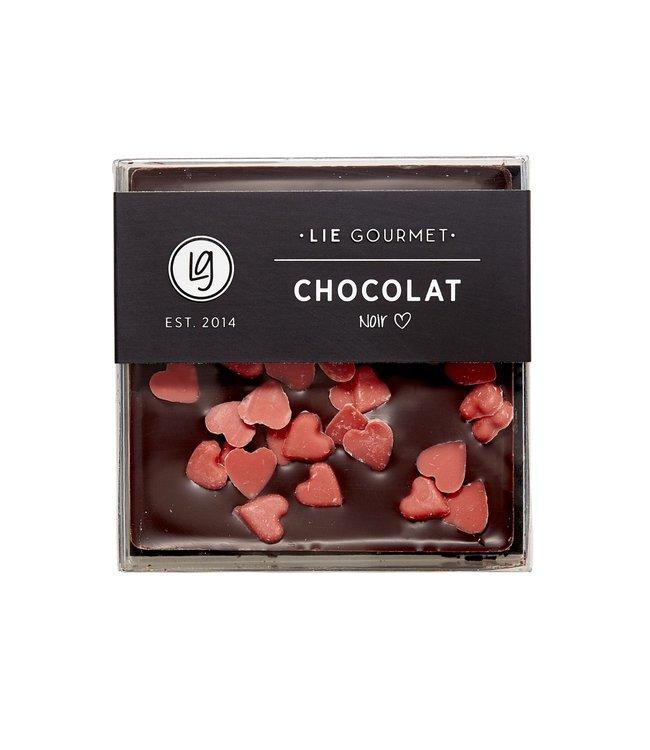 Dark chocolate red hearts