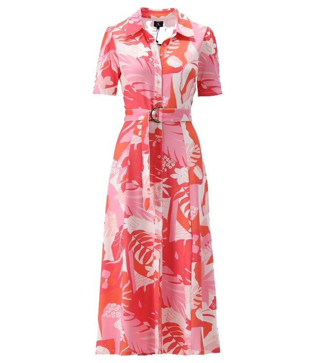 K Design - Maxi jurk met riem & print - S120