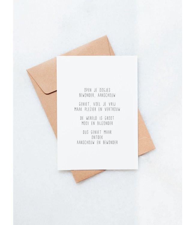 JIP. - Open je oogjes - A6 kaart met envelop