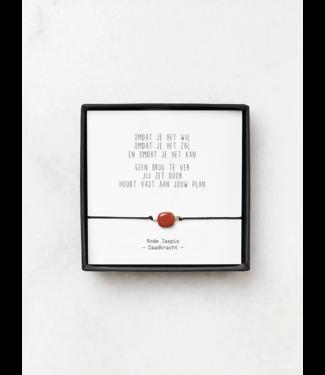 "JIP JIP. - Rode Jaspis armbandjes met gedicht - ""Omdat je het wil"""