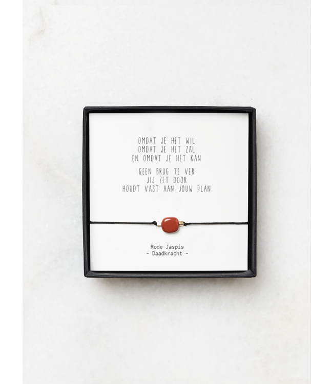 "JIP. - Rode Jaspis armbandjes met gedicht - ""Omdat je het wil"""
