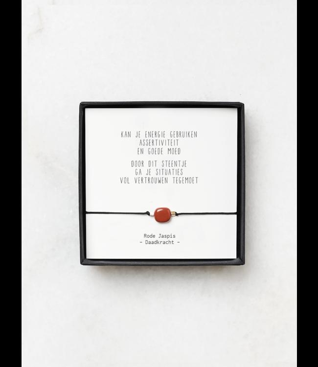 "JIP. - Rode Jaspis armbandjes met gedicht - ""Kan je energie gebruiken"""
