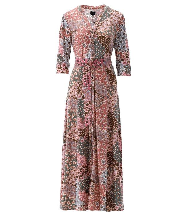K Design - Maxi jurk met print & riem - S146