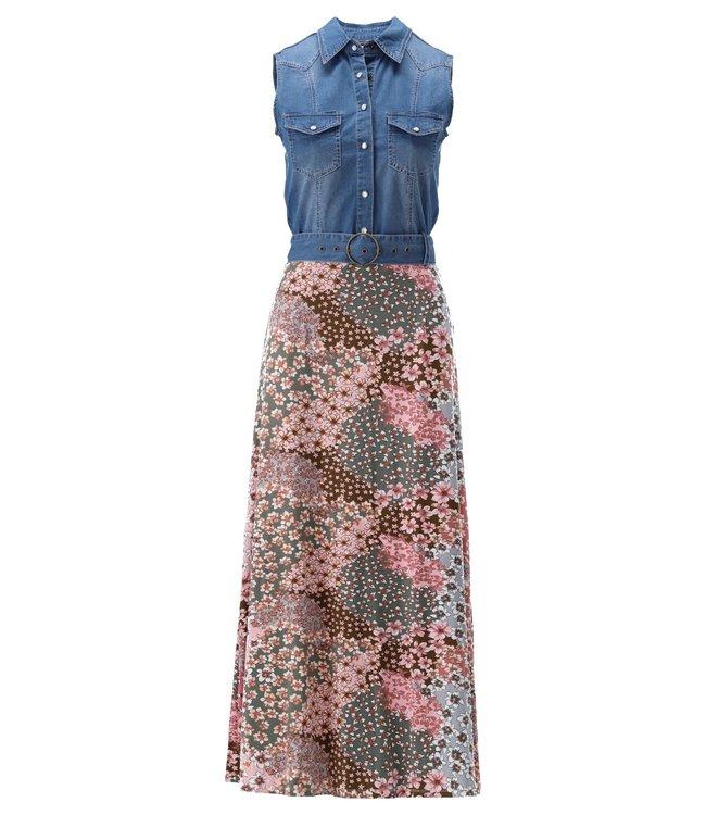 K Design - Maxi jurk mouwloos met jeans & print - S103