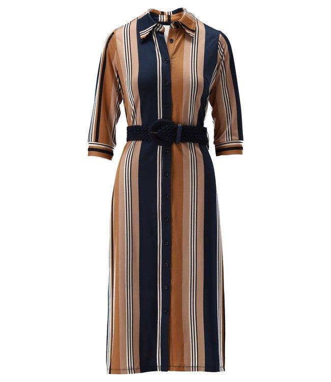 K Design - Maxi jurk met riem & strepen - S140