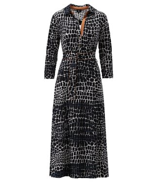 K Design - Maxi jurk met riem & print - S884