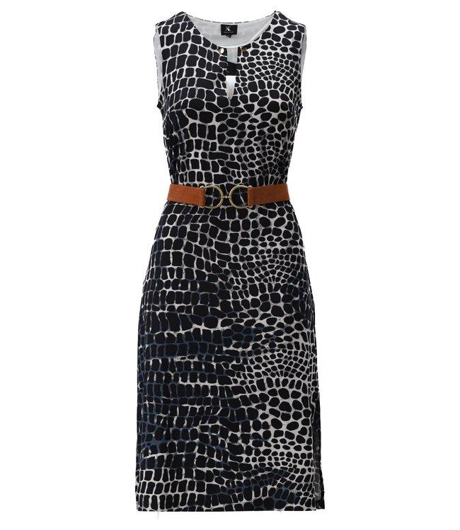Midi jurk mouwloos met riem & print - S883