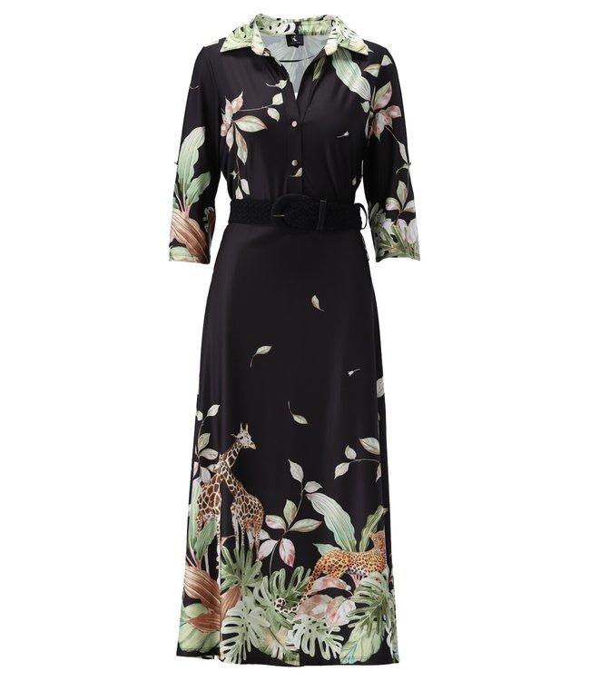 Maxi jurk met riem & print - S817