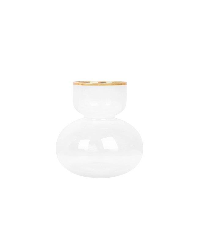 Zusss - Glazen Vaasje Met Goud 9X6X15Cm Wit/Goud