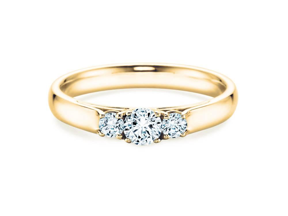 Verlobungsring 3 Stones Gelbgold