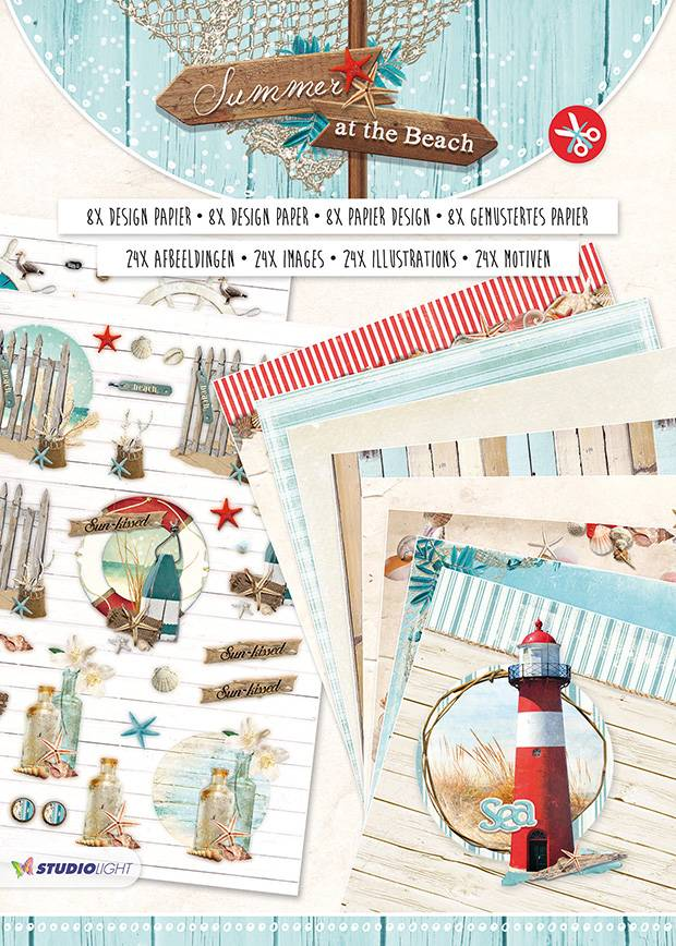 Studiolight Paperblock A4, content 16 sheets die cut, Summer at the Beach nr.03