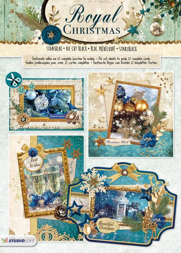 Studiolight Stansblok A4, content 12 sheets die cut, Royal Christmas nr.71