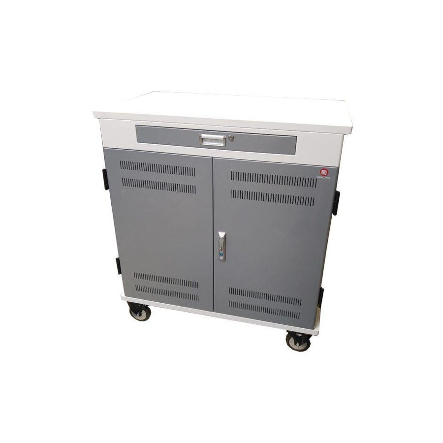 iPad mobile chargingstation; charging of 36 ipads, Tablets, chromebooks. lockable steel cabinet on wheels 36 devices via one electrical outlet charging-3