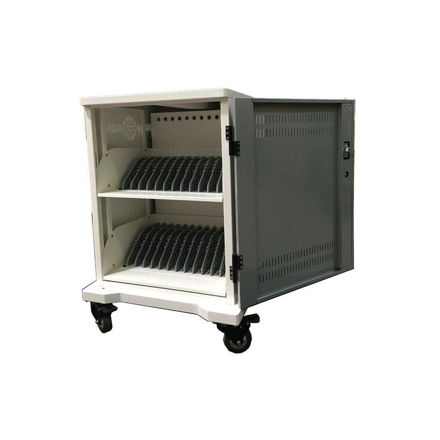 iPad mobile charging station; charging 24 iPads, Tablets, Chromebooks. Lockable steel cabinet on wheels 24 devices can be charged via a single socket-2