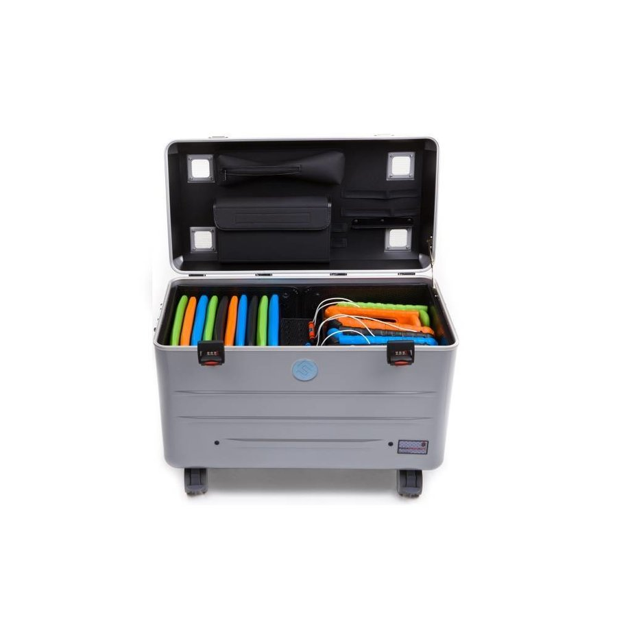 Mobile chargingstation for maximum 20 iPads or tablets, i20 trolley case, without compartments silver-1