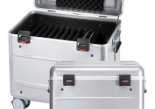 "Parat charge i10 trolley case for 10 tablets 9""-11"" with storage slot dividers silver grey"