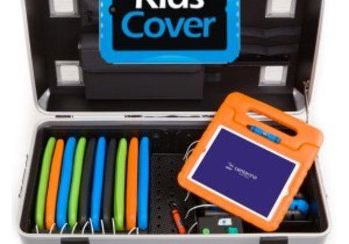 Parat charge & sync i16KC koffertrolley voor 16 iPads met kidscover inclusief lightning kabels zonder vakindeling zilvergrijs