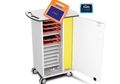 Zioxi syncing and charging cabinet with wheels for 15 tablets in kids cases