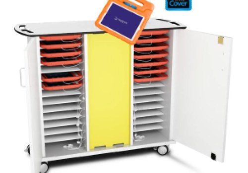 Zioxi syncing and charging cabinet with wheels for 30 tablets in kids cases