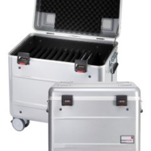 """Parat charge C10 trolley case for 10 Chromebooks of up to 15"""" with storage slot dividers silver grey"""