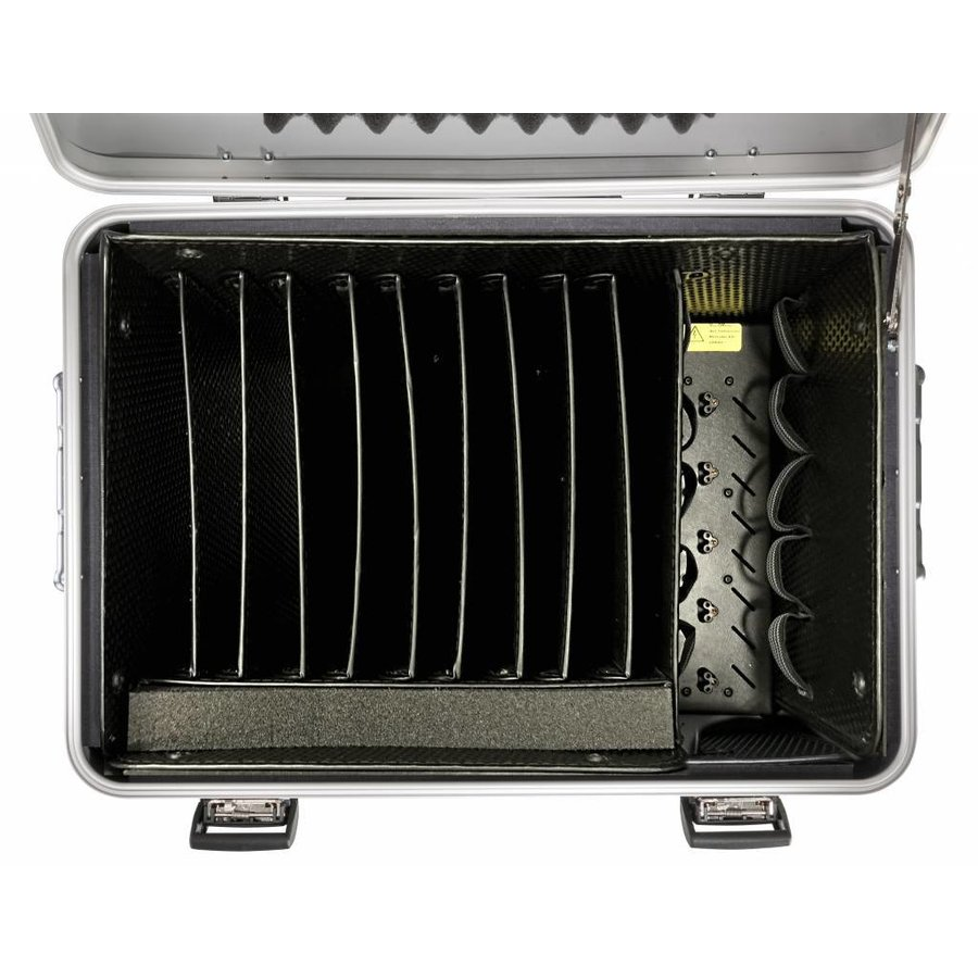 """Mobile charging station for 10x 15"""" Chromebooks, c10 trolley case, with 10 compartments.-3"""