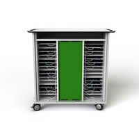 thumb-Charging cart for 32 iPads and/or tablets, with wheels and lock-2