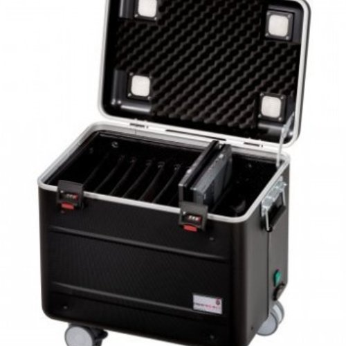 """Parat charge C10 trolley case for 10 Chromebooks of up to 15"""" with storage slot dividers black"""