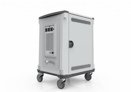 Parat charge & sync U32 trolley wagen voor 32 Chromebooks en/of tablets zilvergrijs