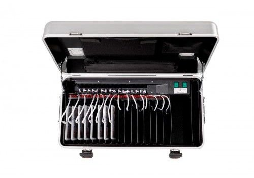 Parat charge & sync i16 trolley case for 16 iPads including lightning kabels with storage slot dividers silver grey