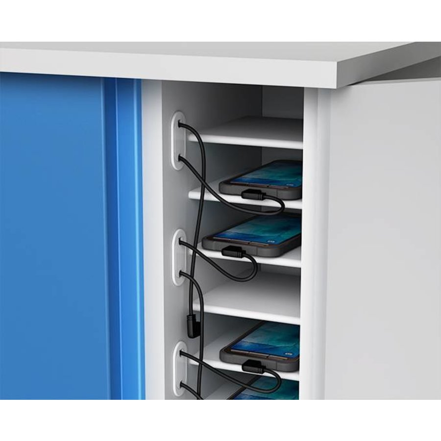 Smartphone, iPhone, iPod storage cupboard with 16 storage bays and integrated charging function-3