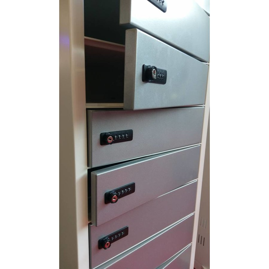 Freestanding locker, each bay is equipped with one 220V and two USB connectors. Each storage compartment has a code lock-1