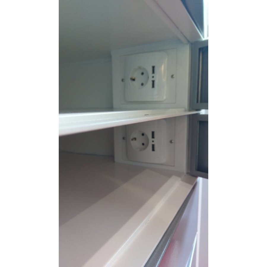 Freestanding locker, each bay is equipped with one 220V and two USB connectors. Each storage compartment has a code lock-3